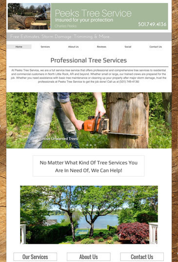 Example of an lawn care website designed by Atwill Media, Peeks Tree Service