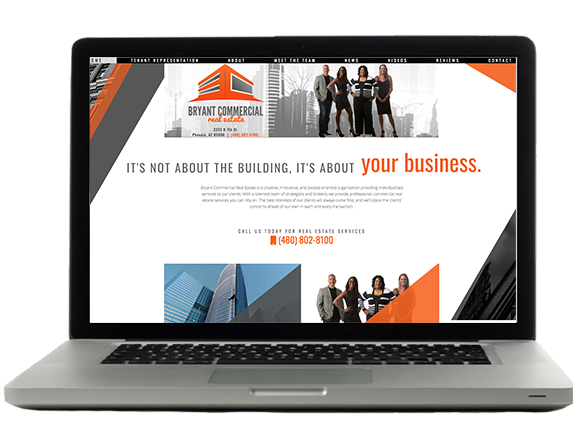 Laptop with the Bryant Commercial Real Estate website