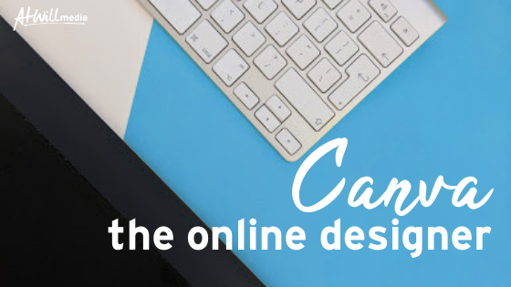 Background: blue table with white keyboard; Header: Canva; Subheader: The Online Designer