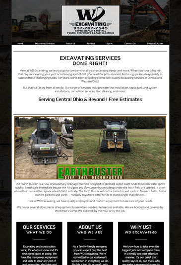 Example of an Website designed by Atwill Media, WD Excavating