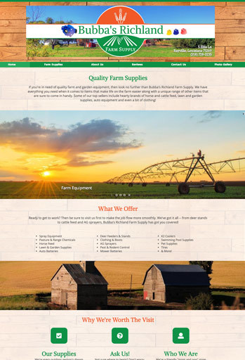 Example of an farm and ranch website designed by Atwill Media, Bubba's Richland