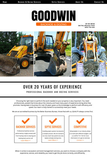Example of an Website designed by Atwill Media, Goodwin Backhoe & Dozing