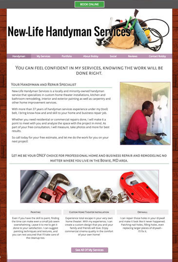 Example of an handyman Website designed by Atwill Media, New Life Handyman Services