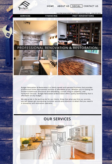 Example of an handyman Website designed by Atwill Media, Budget Renovation & Restoration