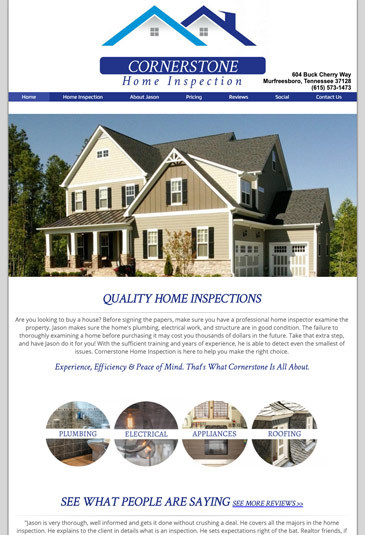 Example of an home improvement website designed by Atwill Media, Cornerstone Home Inspection