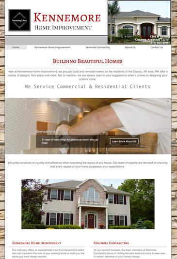 Example of an home improvement website designed by Atwill Media, Kennemore Home Improvement