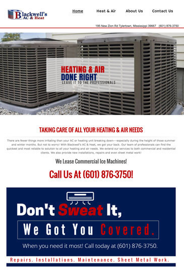 Example of an HVAC Website designed by Atwill Media, Blackwell's AC & Heat