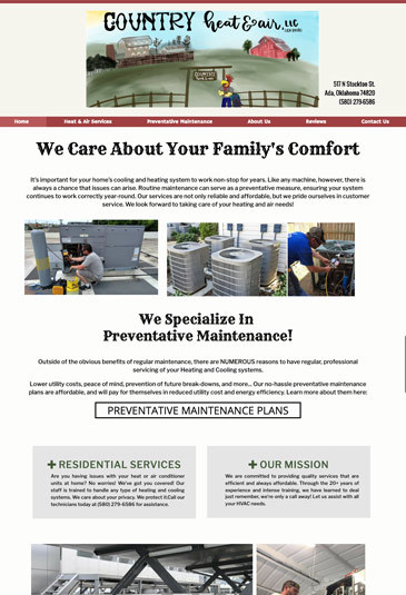 Example of an HVAC Website designed by Atwill Media, Country Heat & Air