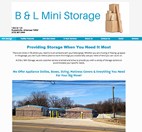 B and L Mini Storage used as Website example