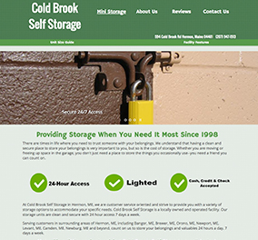 Cold Brook Self storage used as Website example