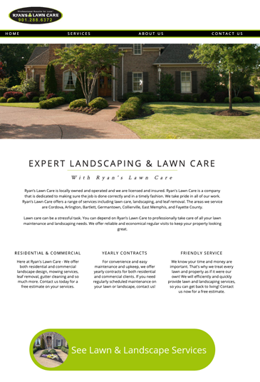 Example of an lawn care website designed by Atwill Media, Ryan Lawn Care