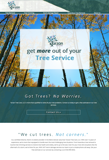 Example of an lawn care website designed by Atwill Media, Tarzan Tree Care