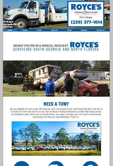 Example of an Towing Website designed by Atwill Media, Royce's Towing & Recovery
