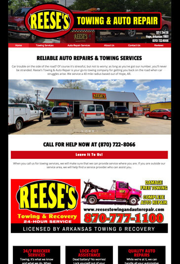 Example of an towing website designed by Atwill Media, Reese's Towing & Auto Repair