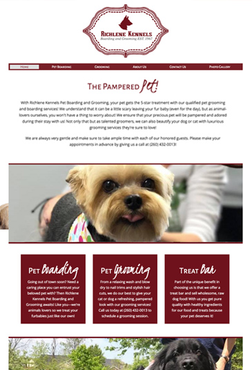 Example of pet groomer website designed by Atwill Media, Richelene Kennels