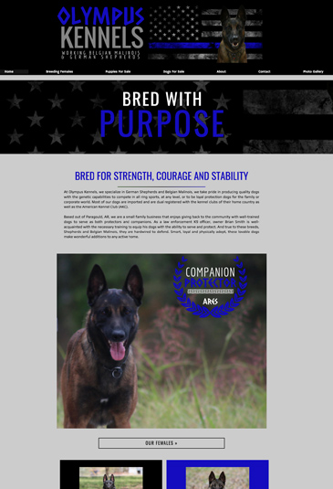 Example of an dog trainer website designed by Atwill Media, Olympus Kennels