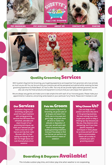 Example of a pet groomer Website designed by Atwill Media, BSuzette's Dog & Cat Grooming